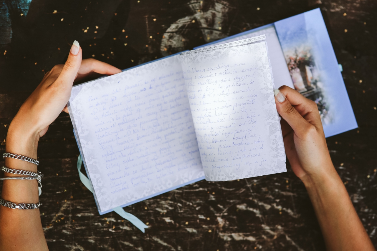 Woman reading diary
